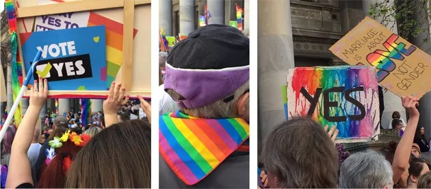 images from a marriage equality rally