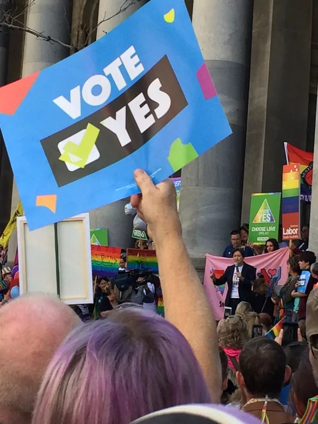 Penny Wong speaking at the Adelaide Marriage Equality rally