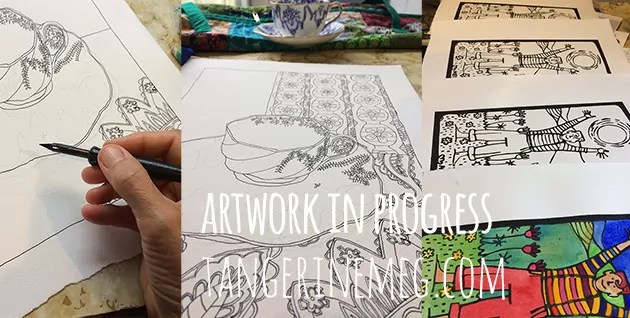 Artwork in progress, with detailed cup and saucer drawing in progress, and at right, a lino print of joy in the sunshine