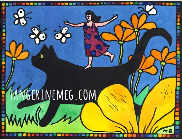 lino print of woman in a heart patterned dress joyfully riding on a black cat amongst and flower and butterfly studded garden