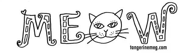 hand lettering black on white saying MEOW, with a cat head for the O