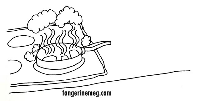 pen drawing of a frying pan with food burning