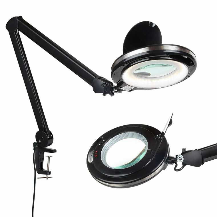 Best magnifying lamps for painting miniatures - Brightech LightView PRO - LED Magnifying Glass Desk Lamp for Close Work best magnifying lights for miniatures and models - best magnifying glass for modeling.