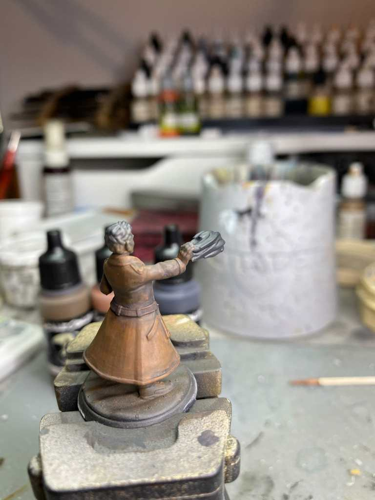 glazing contrast on a 3d printed miniature from heroforge - back view