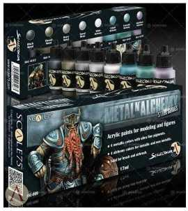 Scale 75 Scale Color Metal 'N Alchemy - Steel Series Paint Set review for airbrushing or regular brush application - best metallic model paint for painting miniatures and models