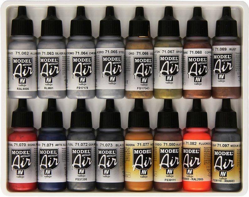 Vallejo Metallics Set Model Air Paint review for airbrushing or regular brush application - best metallic model paint for painting miniatures and models