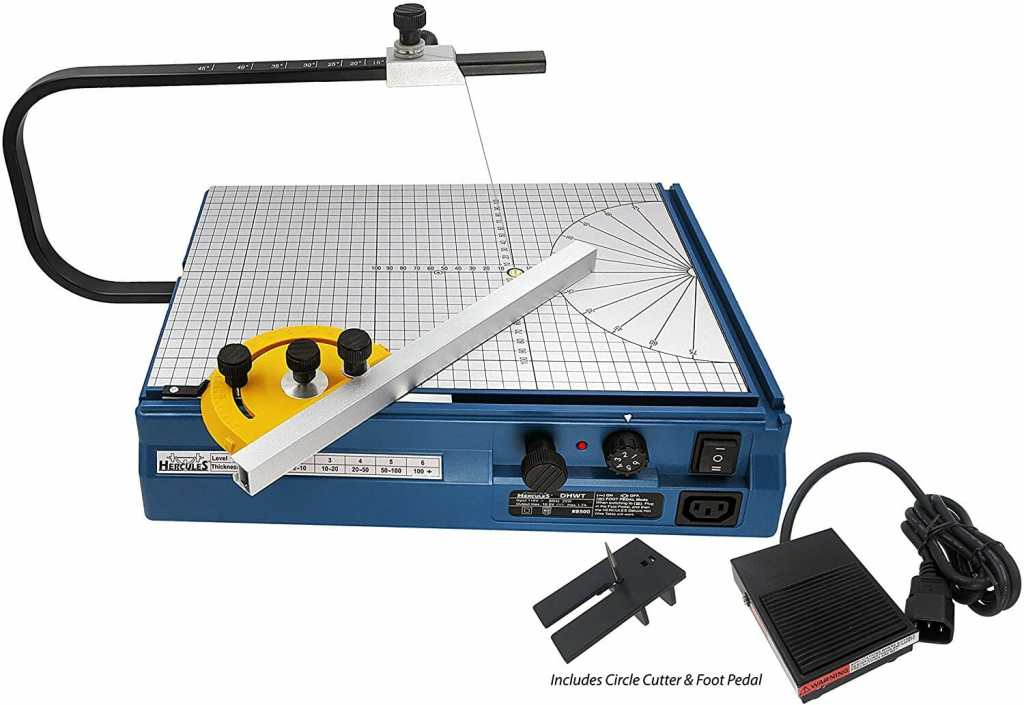 10 Best Hot Wire Foam Cutters for DIY Terrain (Tips and Guide) - Hercules Hot Wire Foam Cutter Table with Foot Operated Control Pedal  - top recommended hot wire foam cutters and knives - scale modeling and model building