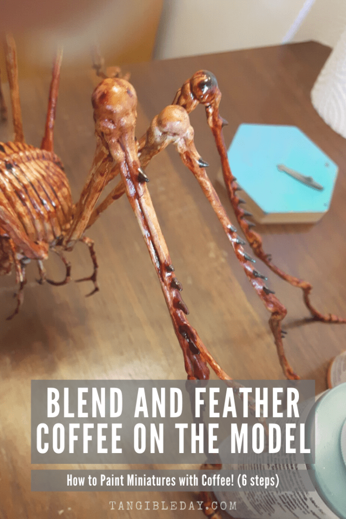 Paint with coffee - 6 steps - how to paint with coffee miniatures and models - painting miniatures with coffee - feather and blend coffee painting
