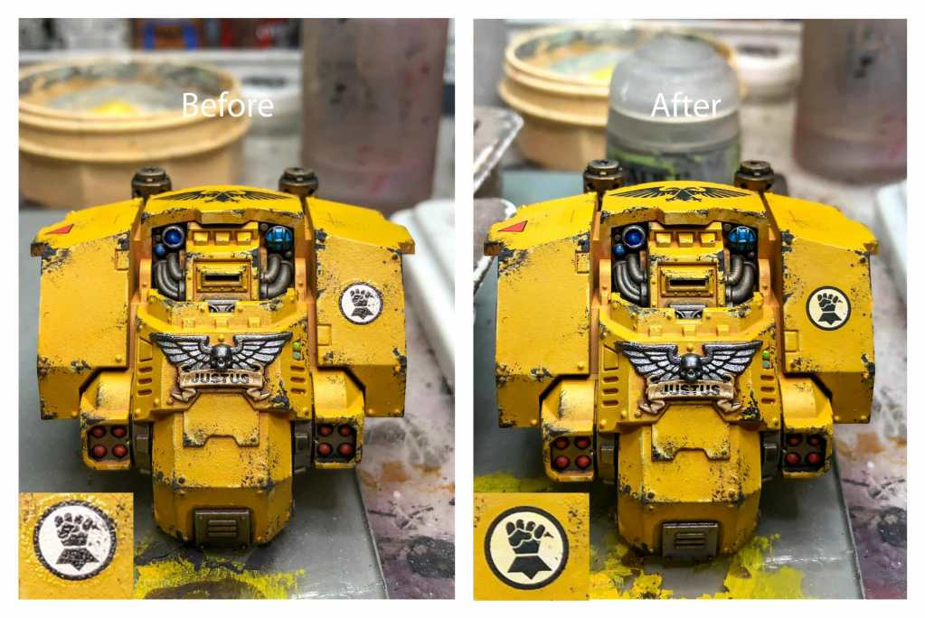 How-to Apply Warhammer Space Marine Decals (Tips) - How to use wet slide decals on miniatures and scale models - before and after matte varnish