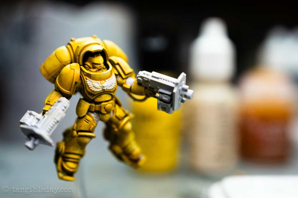 How to Paint Yellow Space Marines (Easy and Fast) - how to paint yellow models and miniatures - prepare surfaces for more contrast black templar paint - front view of preparation for second color. How to add more accents