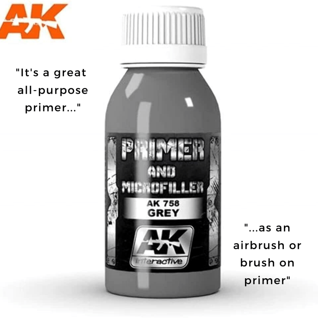 Top 10 Primers for Plastic and Metal Miniatures (Reviews and Tips) - acrylic sandwich - best primer for plastic models - best brush on primers for metal miniatures and models - best spray primer for models - AK interactive primer