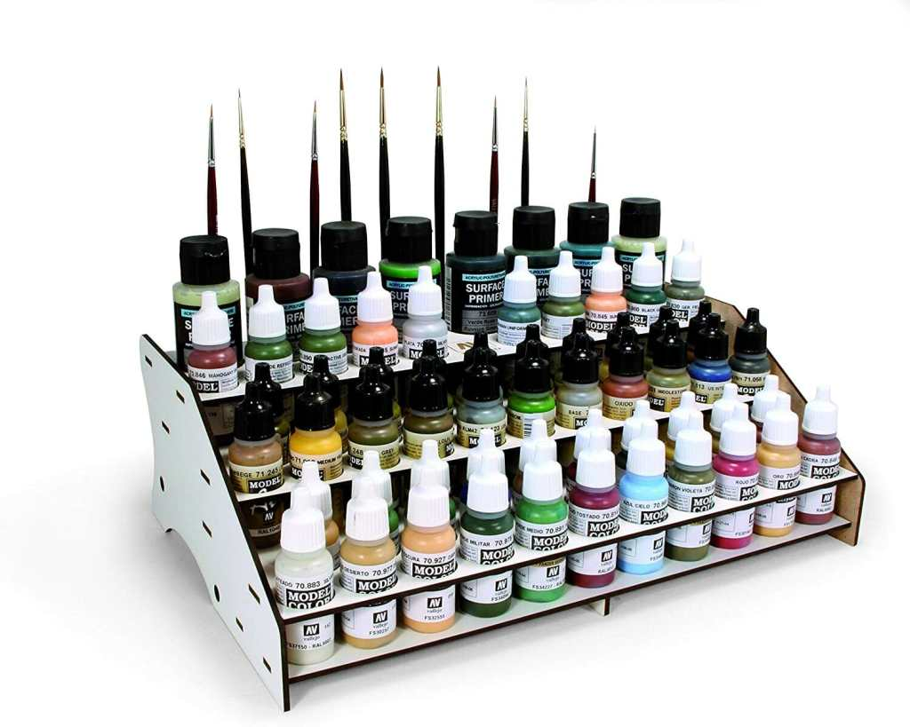 15 Useful Hobby Paint Storage Racks and Organizers. Recommended hobby paint storage, miniature painting station organizer. How to storage Vallejo army painter dropper bottles or Warhammer Citadel paint pots. Best paint display racks for miniature and model painters. Vallejo modular front paint rack for storage and display.