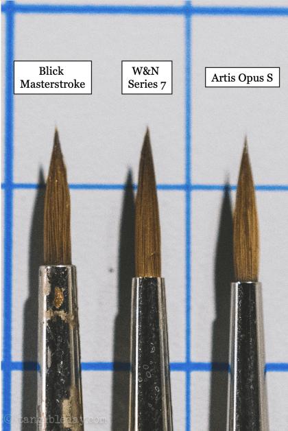 Best Alternative to Winsor & Newton Series 7 Brushes for Painting Miniatures - cheap sable kolinsky sable brushes for painting miniatures - good budget brushes for painting miniatures - w&n series 7 blick artis opus close up bristles