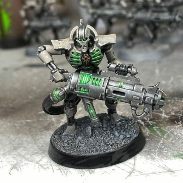 How to paint necrons simple easy fast - tutorial for painting necrons - necron paint schemes - necron color scheme - green dark grimdark color scheme - how do you all paint necrons how do you paint new necrons are necrons easy to paint - trooper model necrons