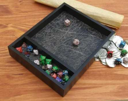 13 Best Dice Trays for Tabletop Games (Review) – best dice trays for wargaming – Warhammer dice tray and storage – best dice tray for Warhammer 40k and miniature games – boardgame dice tray – best dice trays – dice trays for dungeons and dragons, D&D, and roleplaying games (RPG) – Oak Wood Dice Tray with Storage Area