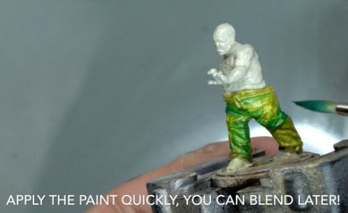 Painting a zombie RPG miniature with oil paints - painting RPG miniatures - oil painting miniatures - origin miniatures - how to paint rpg miniatures - how to paint dungeon and dragons miniatures - painting miniatures and models for role playing games - oil painting 28mm miniatures - apply paint, blend later