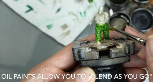 Painting a zombie RPG miniature with oil paints - painting RPG miniatures - oil painting miniatures - origin miniatures - how to paint rpg miniatures - how to paint dungeon and dragons miniatures - painting miniatures and models for role playing games - oil painting 28mm miniatures - blend as you go
