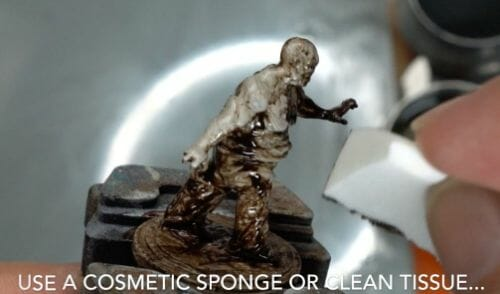 Painting a zombie RPG miniature with oil paints - painting RPG miniatures - oil painting miniatures - origin miniatures - how to paint rpg miniatures - how to paint dungeon and dragons miniatures - painting miniatures and models for role playing games - oil painting 28mm miniatures - wipe off excess paint