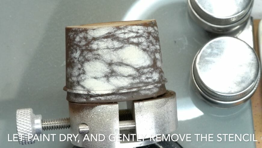 How to paint marble effects on miniatures – painting white marble – painting stone effect miniatures -how to paint marble on miniatures and models – airbrush stencil marble – marbleizing miniatures – airbrushing marble effect - marbling with stencil