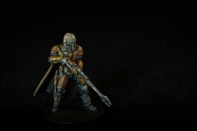 """Oil Painting the Star Wars """"Mandalorian"""" Alla Prima - how to paint a 3D printed resin model with oil paint - speed painting miniatures with oils - final studio photo of the complete alla prima painted miniature of the star wars mandalorian"""