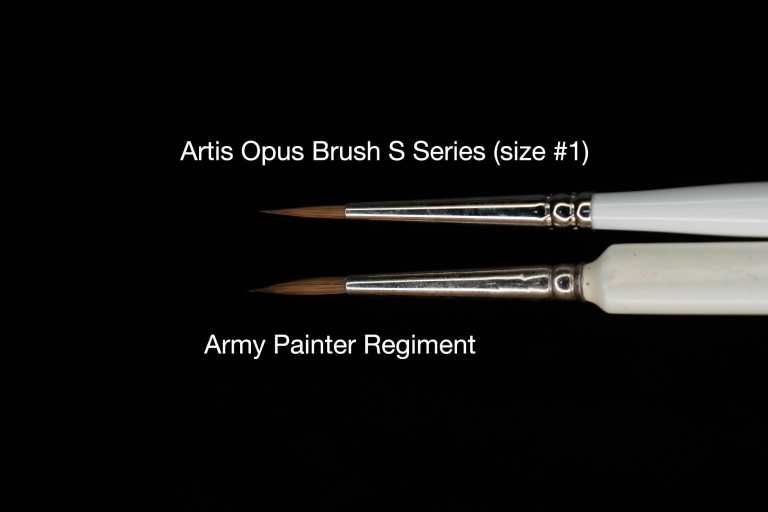 "The Army Painter Wargamer ""Regiment"" Brush Review for Miniatures - Brush Review of the Army Painter Wargamer Regiment for Painting Miniatures and Models - Regiment Brush Review for miniature painting - Best Army Painter brush for miniatures and models - Regiment brush for painting warhammer 40k and other tabletop wargaming miniatures - artis opus vs regiment"