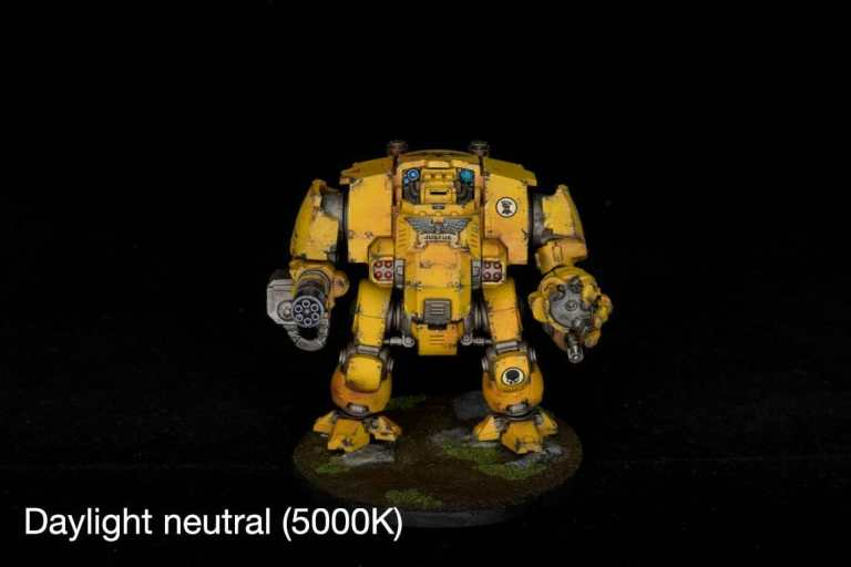 How to take better miniature pictures with a ring light - how to improve your miniature photography - why good light helps improve your miniature and model photography - yesker ring light review for miniature photography - daylight neutral 5000K light on a primaris dreadnought Imperial fists