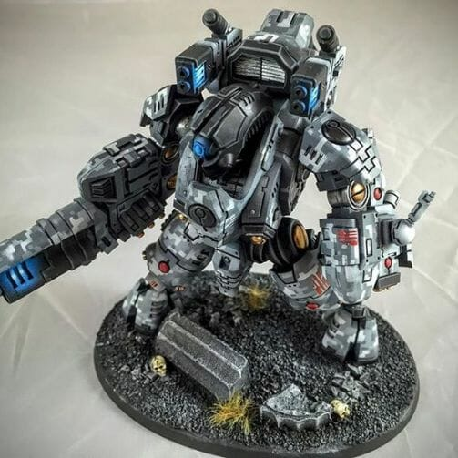 Tau sept color schemes, caste color schemes for Tau, T'au paint color scheme ideas – Grimdark Tau style, Blachitsu Tau painting, how to paint Tau miniatures, Games Workshop Tau paint schemes – How to paint grimdark Tau – painting Blanchitsu Tau - black gray camo scheme