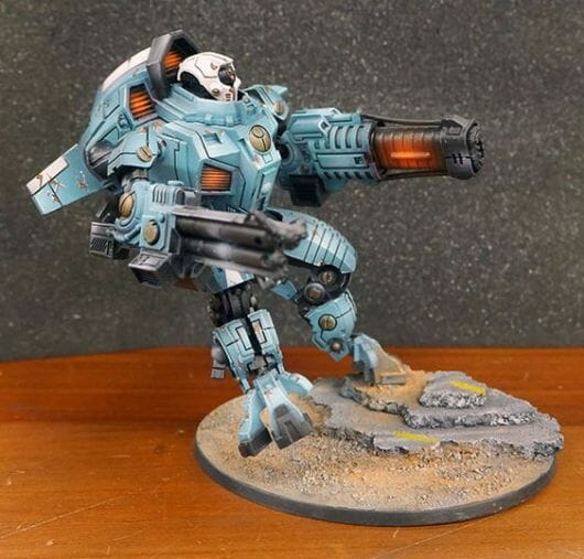 Tau sept color schemes, caste color schemes for Tau, T'au paint color scheme ideas – Grimdark Tau style, Blachitsu Tau painting, how to paint Tau miniatures, Games Workshop Tau paint schemes – How to paint grimdark Tau – painting Blanchitsu Tau - light blue airbrushed tau with orange osl effects