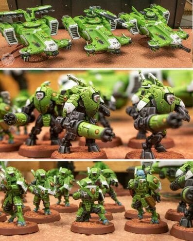 Tau sept color schemes, caste color schemes for Tau, T'au paint color scheme ideas – Grimdark Tau style, Blachitsu Tau painting, how to paint Tau miniatures, Games Workshop Tau paint schemes – How to paint grimdark Tau – painting Blanchitsu Tau - bright green white stealth suits