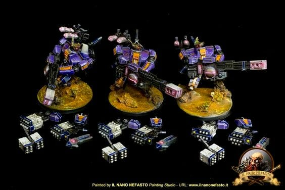 Tau sept color schemes, caste color schemes for Tau, T'au paint color scheme ideas – Grimdark Tau style, Blachitsu Tau painting, how to paint Tau miniatures, Games Workshop Tau paint schemes – How to paint grimdark Tau – painting Blanchitsu Tau - purple tau magnetized