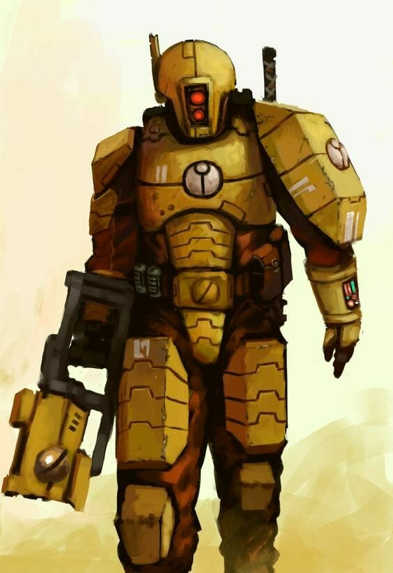 Tau sept color schemes, caste color schemes for Tau, T'au paint color scheme ideas – Grimdark Tau style, Blachitsu Tau painting, how to paint Tau miniatures, Games Workshop Tau paint schemes – How to paint grimdark Tau – painting Blanchitsu Tau - grimdark yellow tau