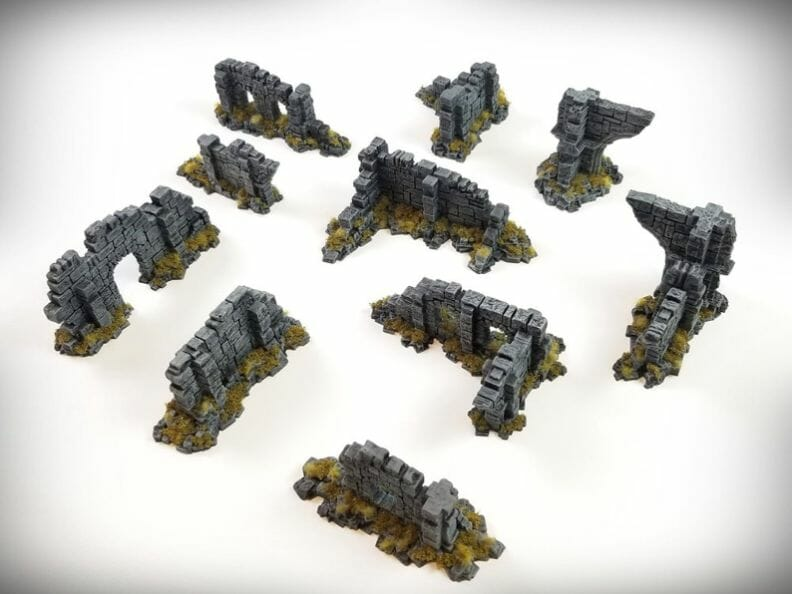 Best tabletop terrain on Etsy – Warhammer terrain – wargaming terrain – cool modular tabletop terrain – DIY wargaming terrain for 28mm games – RPG gaming terrain on Etsy - scatter walls brick stone terrain cover