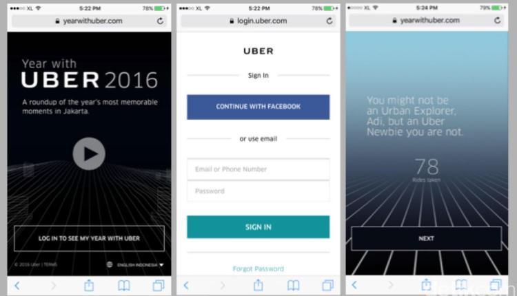 Uber menyediakan informasi untuk mengetahui perjalanan selama 2016
