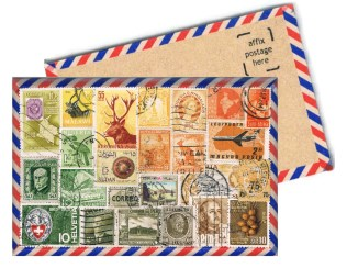 A chunky, 4mm wooden postcard with OOAK collage front