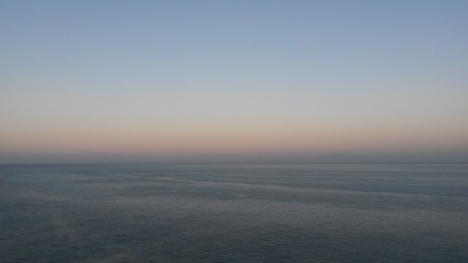 An early morning, scenic shot of False Bay from Faure Marine Drive, South Africa.
