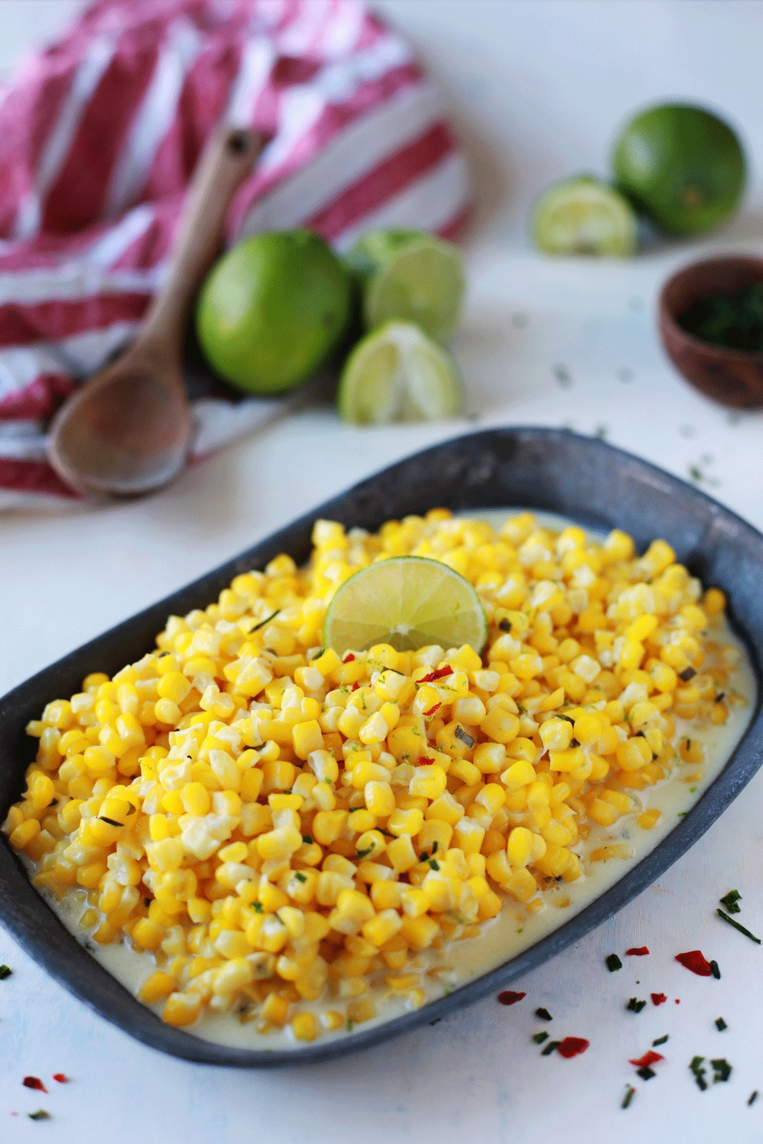 Creamed corn with lime. An easy recipe for creamy delicious corn with just a hint of heat and citrus.