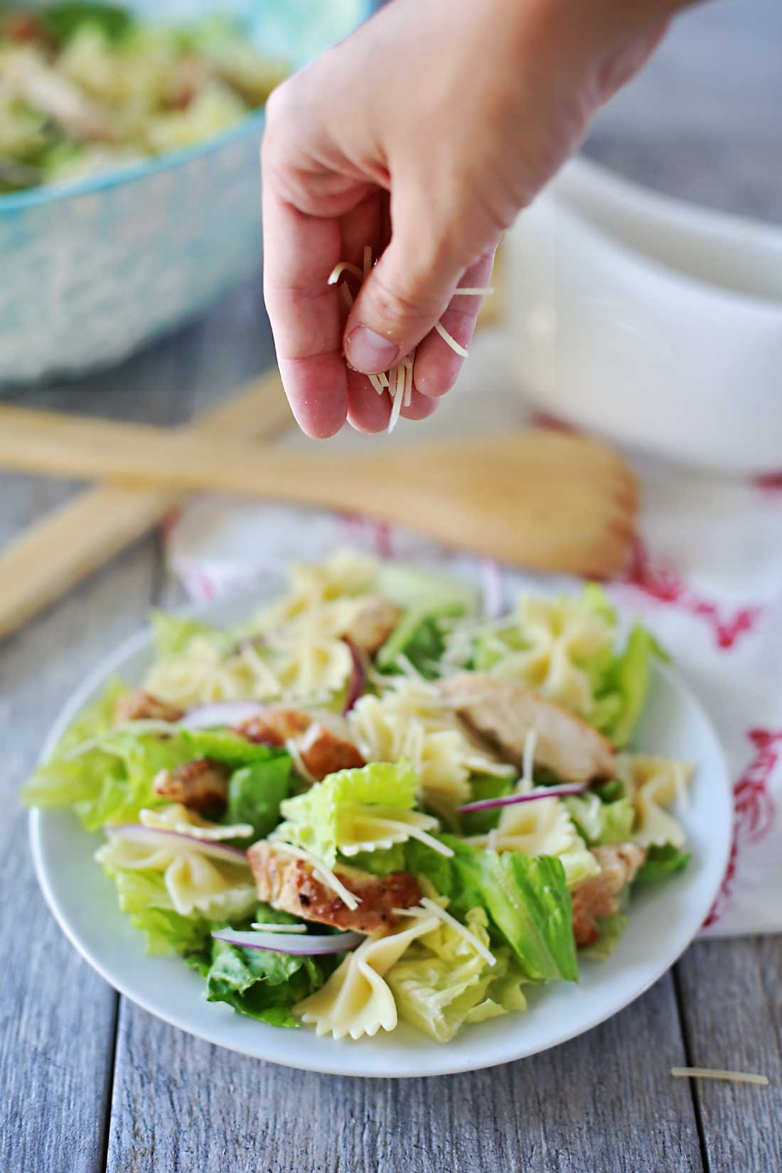 Delicious grilled chicken caesar salad with bowtie noodles. SOOO GOOD!!!!