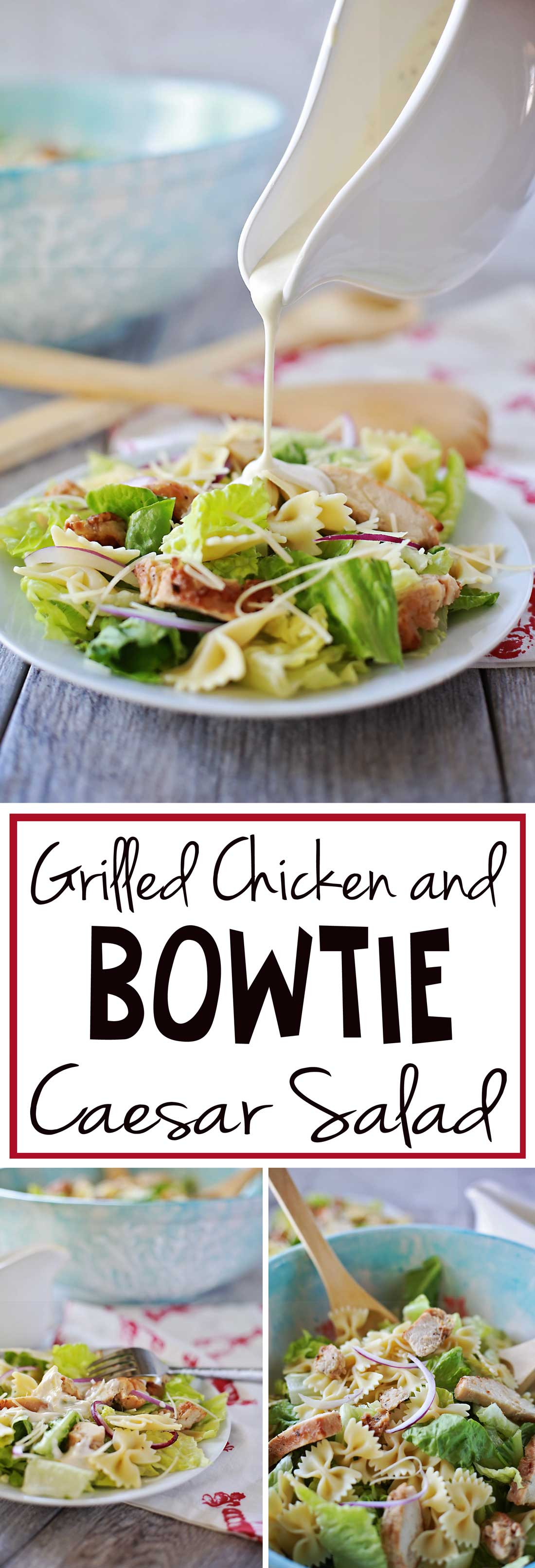 This bowtie chicken caesar salad was AMAZING! we served it at a party and everyone went crazy for it!!!