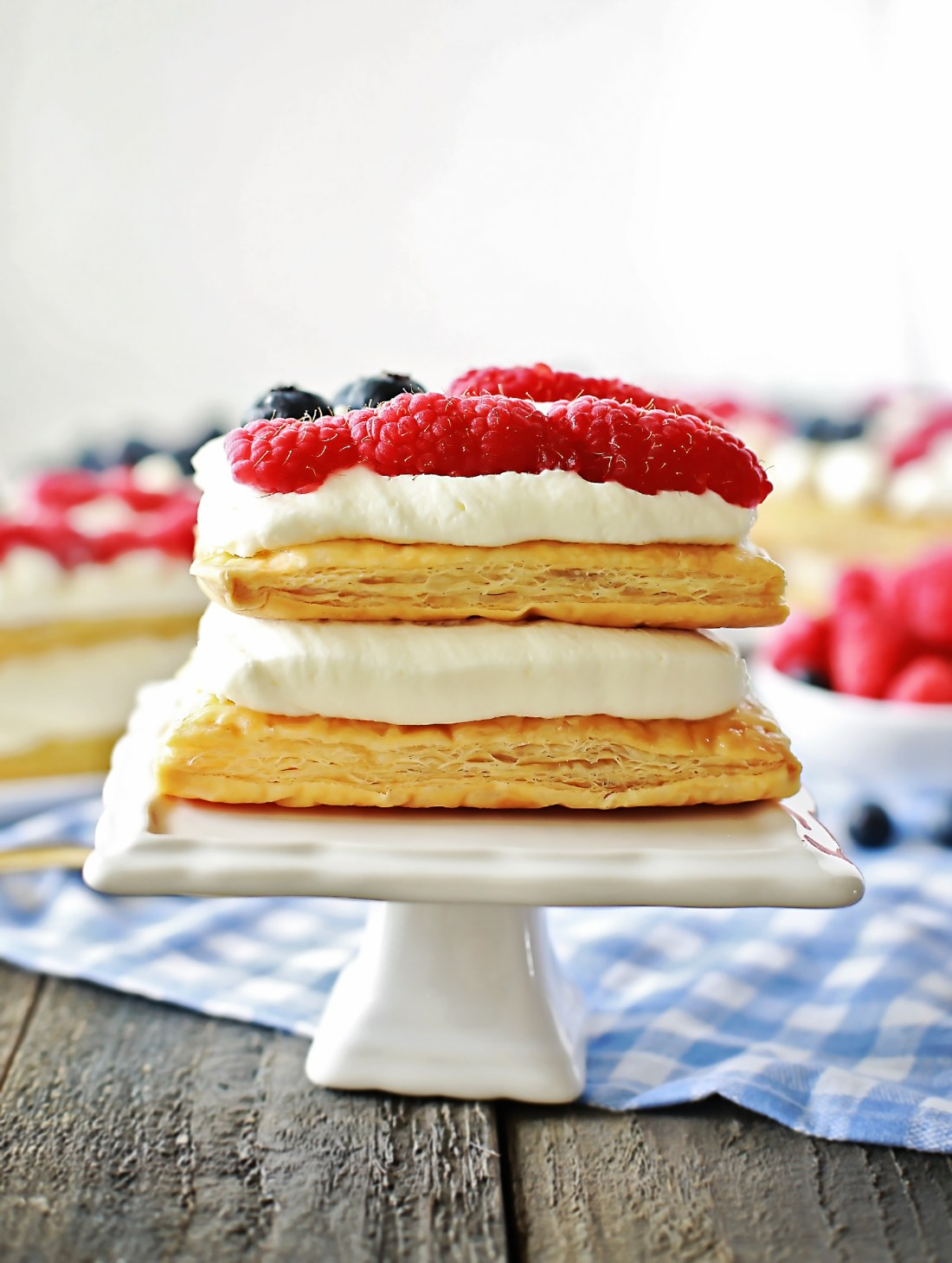 American Flag Dessert by Flirting with Flavor. THis Lemon Raspberry napoleon is so easy and tastes delightful!!!