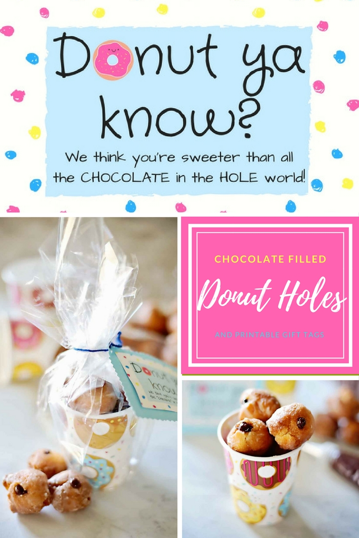 Chocolate Ganache Filled Donut Holes with cute printable gift tags!