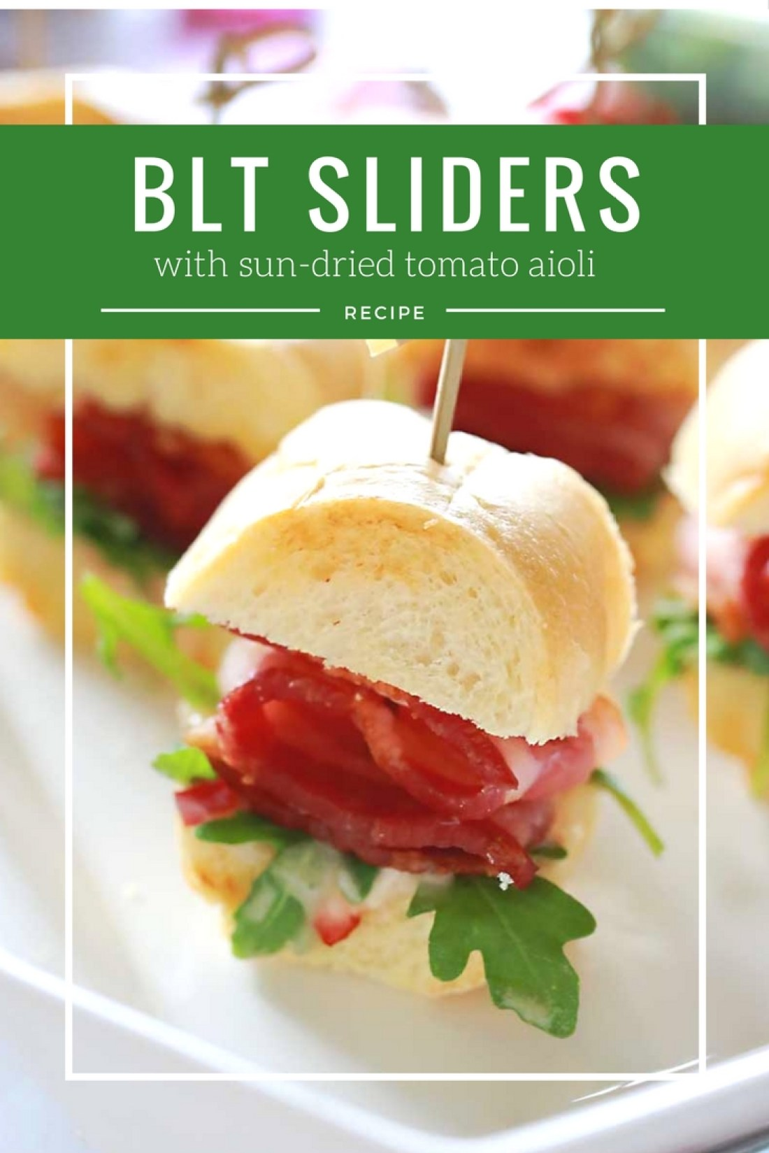 A classic BLT with added pizazz! Slider size rolls, slathered with home made sun dried tomato aioli, then topped with fresh arugula and thick-cut bacon.