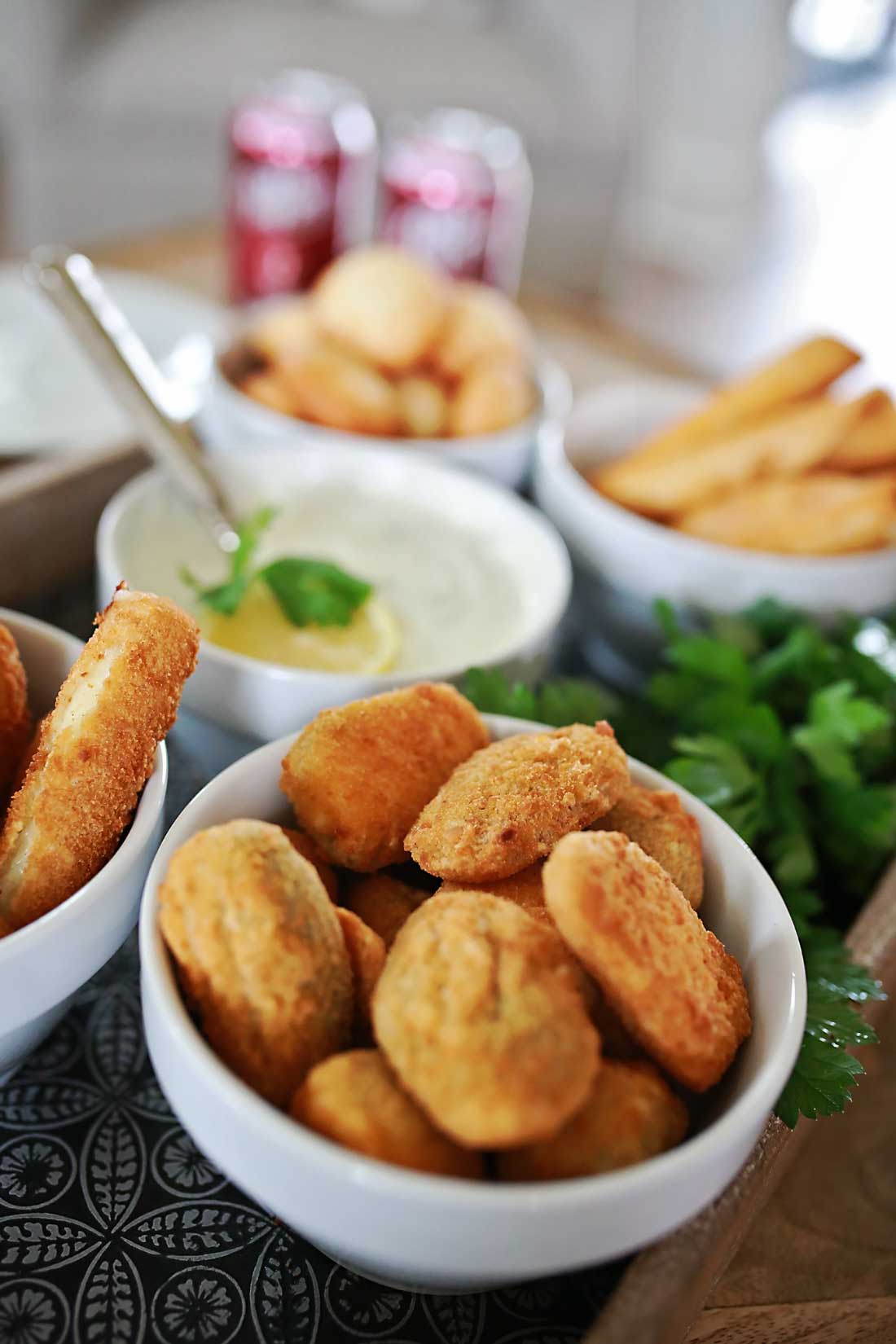Delicious Cream Cheese Jalapeno poppers and homemade Buttermilk Ranch!