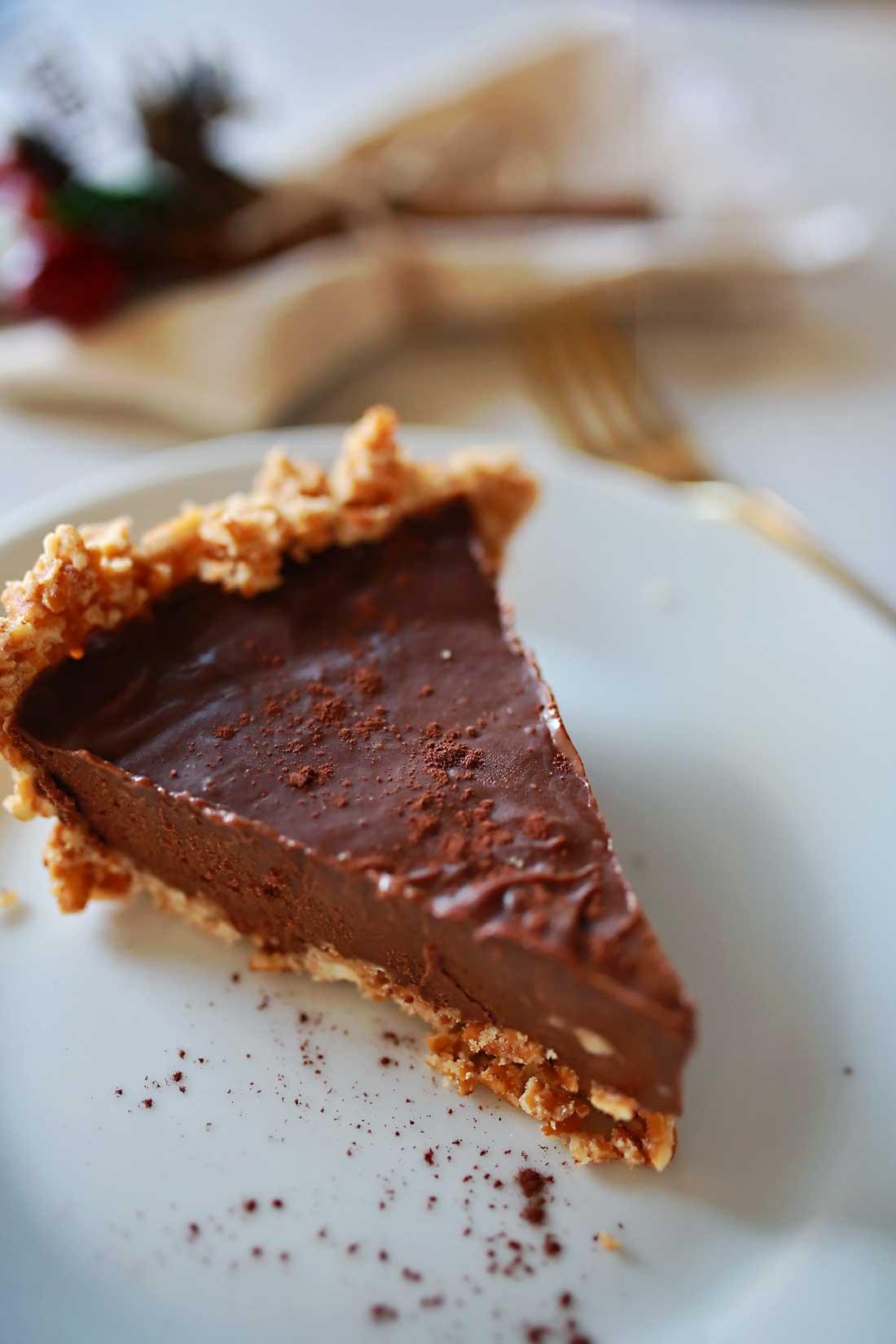 Oh my gosh YUMMY!!! Chocolate truffle silk pie with a crunchy pretzel crust!