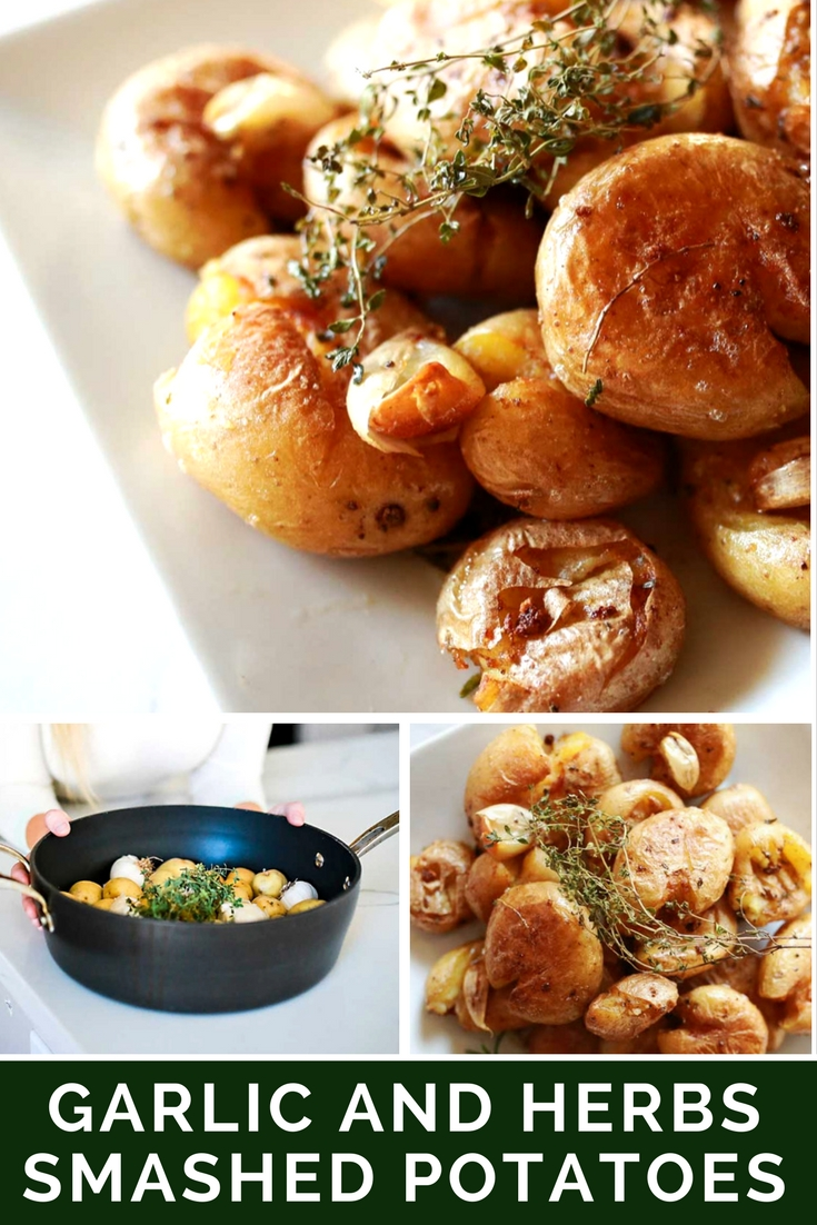Roasted baby golden potatoes or marble potatoes. Smashed potatoes with herbs and garlic. So easy to make and they taste divine!!!