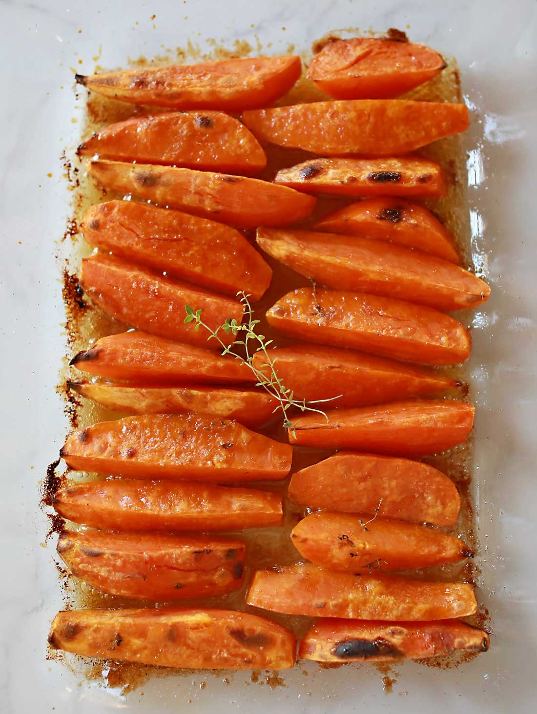 Sweet Potato Wedges caramelized with herbs.
