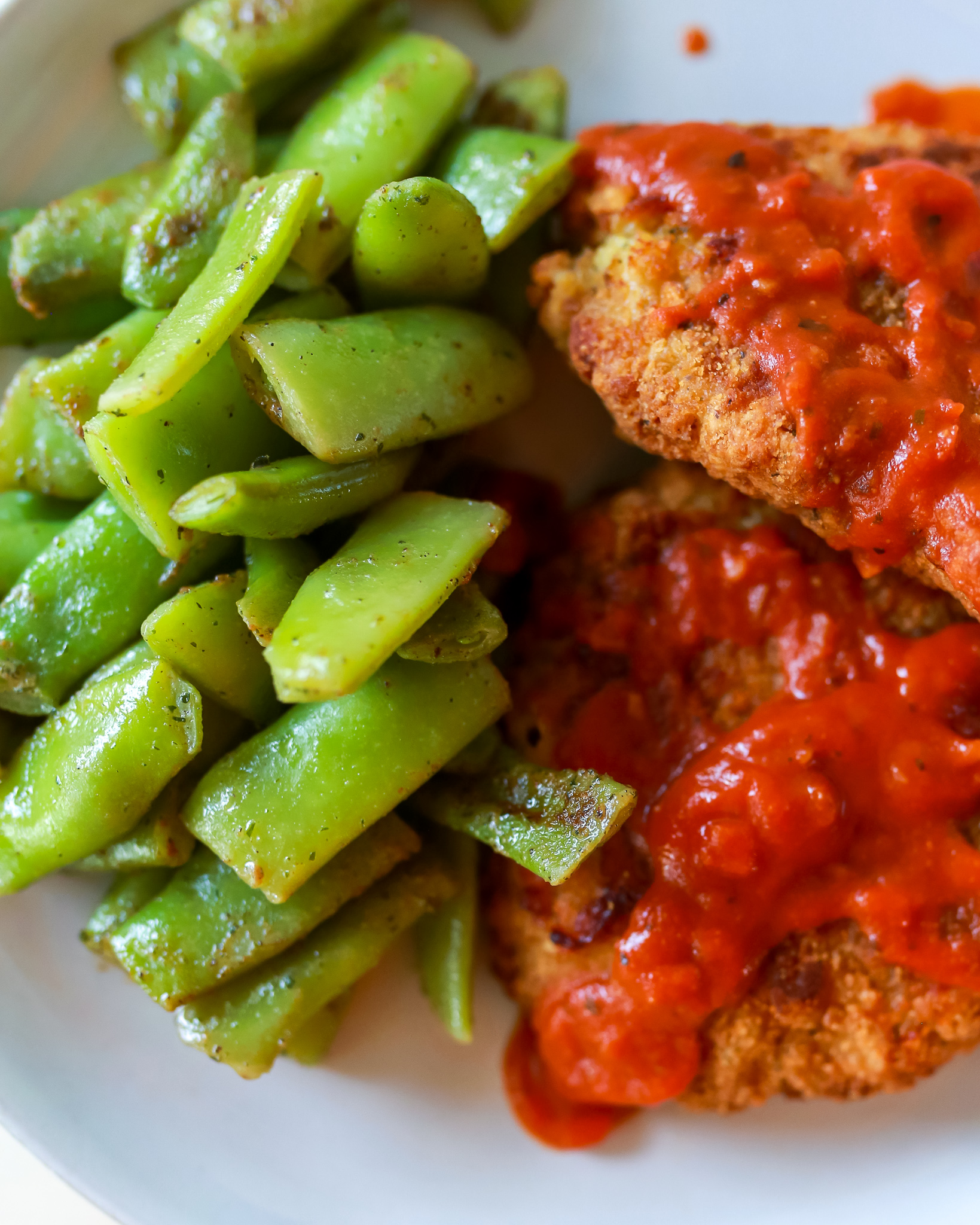 Crispy chicken pomodorr and the best flat Italian green beans!