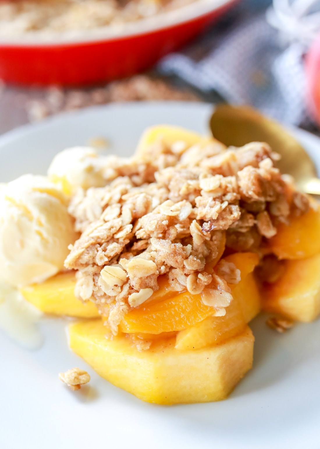 Incredible Peach Crisp recipe with brown butter streusel!!!