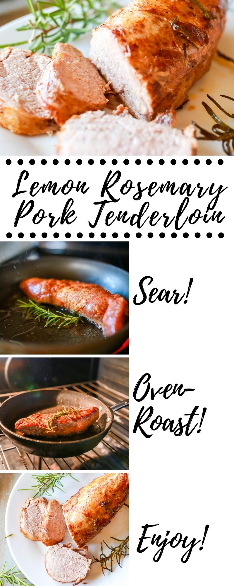 Super easy, flavorful and tender lemon rosemary roasted pork tenderloin recipe!!! So good!