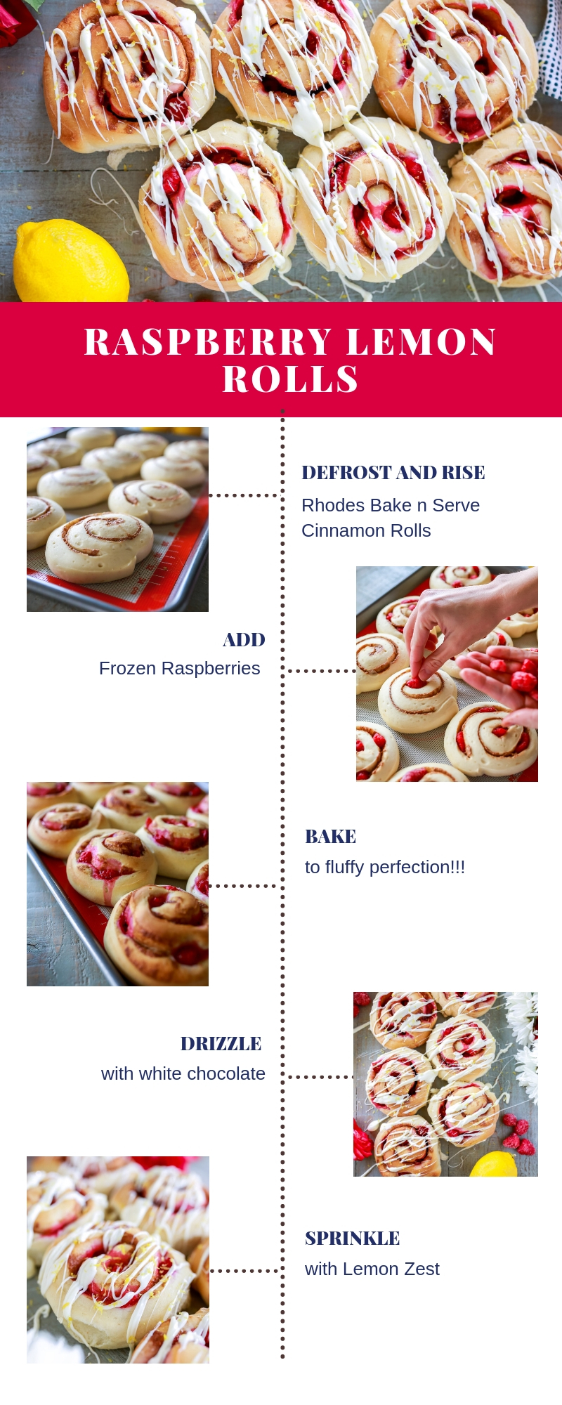 Easy recipe for soft and fluffy Raspberry Rolls with a white chocolate drizzle and lemon zest. Just the right combination of sweet, tart, and savory!