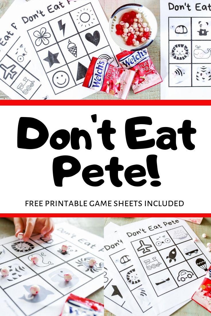 Don't eat Pete game with instructions and free printable game sheets!